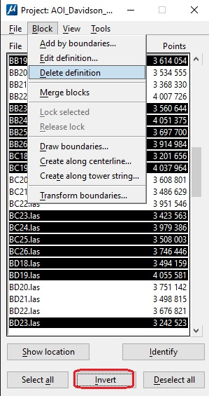 Invert the selection and delete the project definitions for all the files not needed in the project