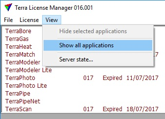 terra license manager